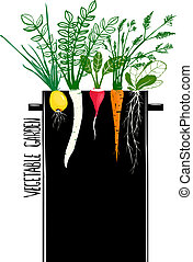 Grow Vegetable Garden and Cook Soup - Food illustration in...