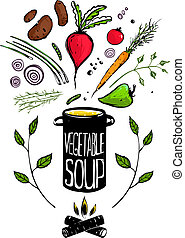 Cooking Vegetable Soup Food - Food illustration in black ink...