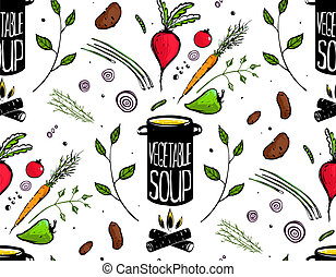 Seamless Pattern Cooking Vegetable Soup - Food tileable...