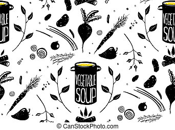Seamless Pattern Vegetable Soup in Black - Food background...