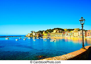 Sestri Levante silence bay or Baia del Silenzio sea harbor,...