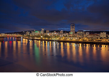 Portland Downtown Skyline at Twilight - Portland Oregon...