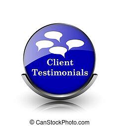 Client testimonials icon - Blue shiny glossy icon on white...