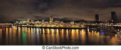 Portland City Skyline with Bridges at Night - Portland...