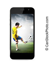 mobile soccer - modern phone with soccer or football player...