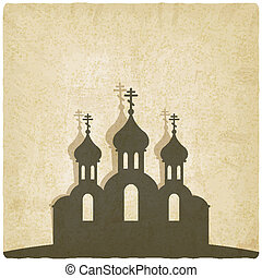 Orthodox church old background - vector illustration. eps 10