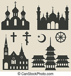 religious buildings set and symbol