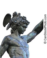 bronze statue of Perseus holding the head of...