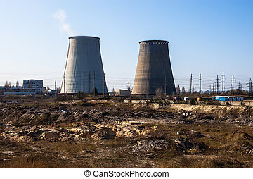 Cooling towers of the cogeneration plant near Kyiv, Ukraine...
