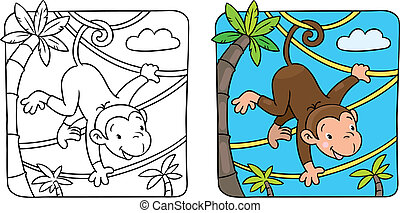 Little funny monkey on lians - Vector cartoon character of...