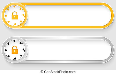 yellow and silver vector abstract buttons with padlock