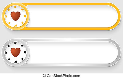 yellow and silver vector abstract buttons with heart