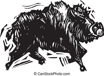 Wild Boar - Woodcut style image of a wild boar with tusks.