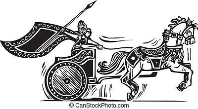 Valkyrie Chariot - Woodcut style image of a Norse viking...