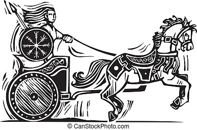 Brigid Chariot - Woodcut style image of the Celtic heroine...