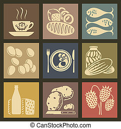 Food Icons - Soviet food retro icons and buttons set