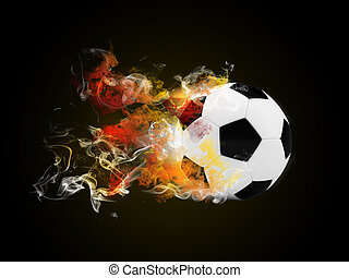 Soccer ball in the color of flame and smoke. Sport concept