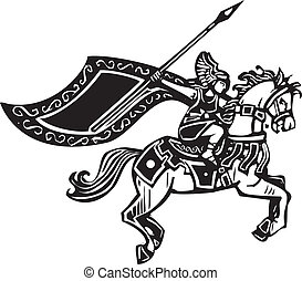 Valkyrie on Horse - Woodcut style image of a Norse viking...