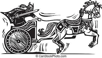 Viking Chariot - Woodcut style image of a Viking riding a...