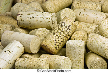 pile of wine corks close-up - heap of wine bottle corks may...