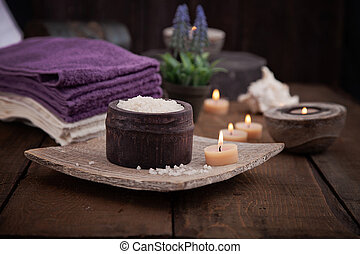 Spa setting - Spa and wellness setting with natural bath...