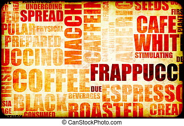 Coffee Background - Coffee Menu Beverage as a Art Grunge...