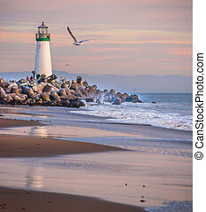 Santa Cruz Harbor lighthouse - Dusk falls on Walton...