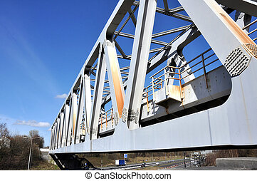 Truss Type Railway Bridge - A Warren truss steel girder...