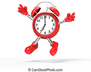 character alarm clock jump, isolated on white background
