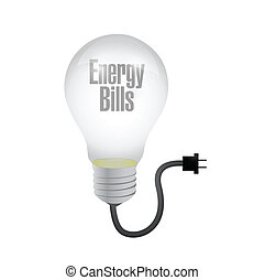 energy bills light bulb and cable. illustration