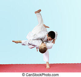 lances, judo, dois, atletas, treinamento