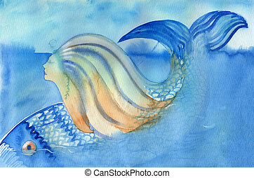 Mermaid and fish diving down abstract watercolor painting...