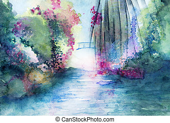 Romantic bridge and water landscape fantasy watercolor in...