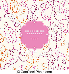 Embroidered flowers frame seamless pattern background -...