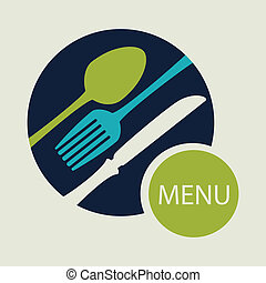 Restaurant design over beige background, vector illustration