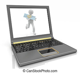 man is running in laptop