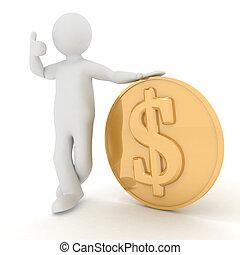 3d man rely on dollar Render illustration
