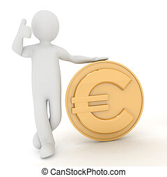 3d man rely on euro - 3d man rely on euro. Render...