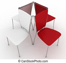 Office chairs 3d illustration on white background