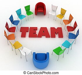 People stand around the word team Conception of cooperation...