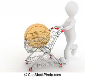 person with shopping cart and euro