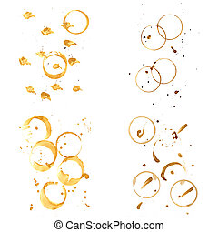 Collection of coffee splashes and stains isolated on white...