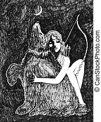 Artemis and Bear ink sketch fantasy in black and white