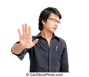 Asian business man say no on white background