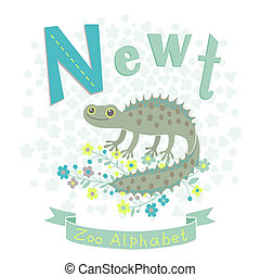 Letter N - Newt. Alphabet with cute animals. Vector...