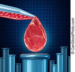 Laboratorio, crecido, carne