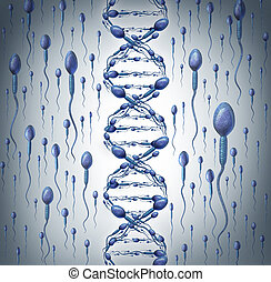 Male DNA symbol as human sperm cells shaped as a double...