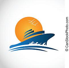 kryssning, Skepp, sol, vågor, logo