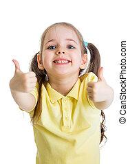 子供, の上, 親指, 手, 女の子, 幸せ