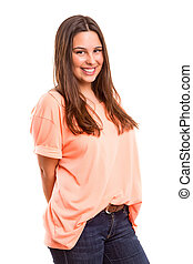 Young woman - Beautiful young casual woman posing isolated...